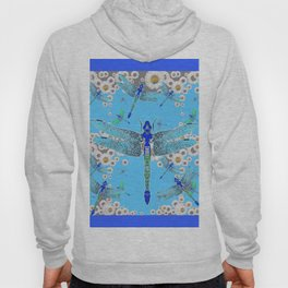 BLUE DRAGONFLIES LILAC WHITE DAISY FLOWERS  ART Hoody