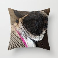 muppet Throw Pillows featuring Pug Muppet by Red NCK Debutante