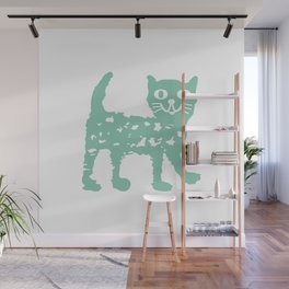 Mint cat drawing, cat drawing Wall Mural