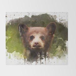Bear Cub - Watercolor Throw Blanket
