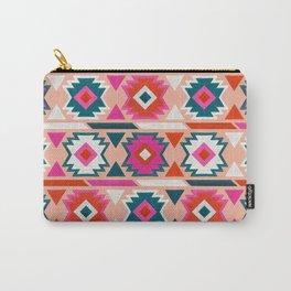 Kilim Abundance Pattern  - Blush & Teal Palette Carry-All Pouch