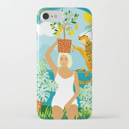 Bring The Jungle Home Illustration, Tropical Cheetah Wild Cat & Woman Painting iPhone Case