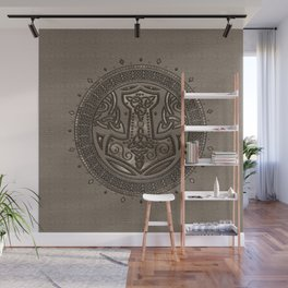 The hammer of Thor Beige Leather and gold Wall Mural