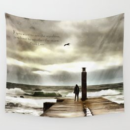 The girl in the storm, Cascais (Portugal) Wall Tapestry