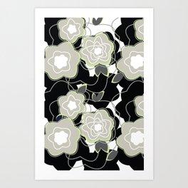 Mysterious Night - Flowers by SewMoni Art Print