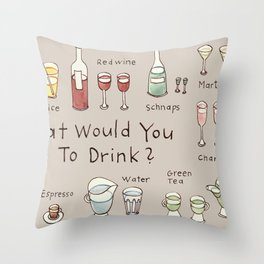 What would you like to drink? Throw Pillow