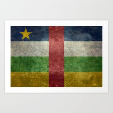 National flag of the Central African Republic or CRA - Vintage version to scale Art Print