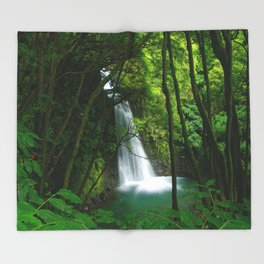 Waterfall in the Azores Throw Blanket