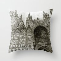 takmaj Throw Pillows featuring Rouen facade by takmaj