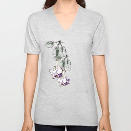 Illustrated Moonflower in Purple and Green Unisex V-Neck