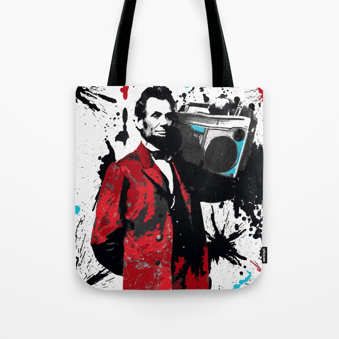 ABRAHAM LINCOLN INK SPLASH RED MAKE MUSIC NOT WAR Tote Bag