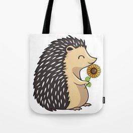 Hedgehog Hold Sunflower Tote Bag