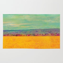Teal Sky, Indigo Mountains, Mustard Plants, Colorful Houses Rug