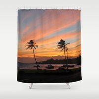 postcard Shower Curtains featuring Poipu Postcard Moment by shamik