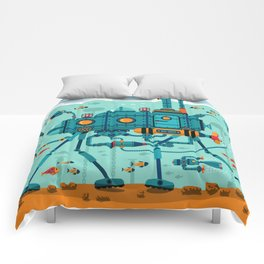 Cute Colorful Robot Underwater Scene Comforters