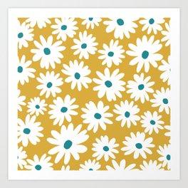 Daisies - Spring - Yellow Art Print