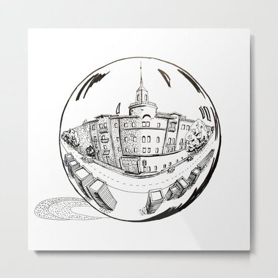 City in a glass ball Metal Print
