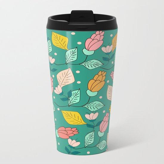 floral pattern 4 Metal Travel Mug