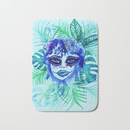Woman with Tropic leaves Bath Mat