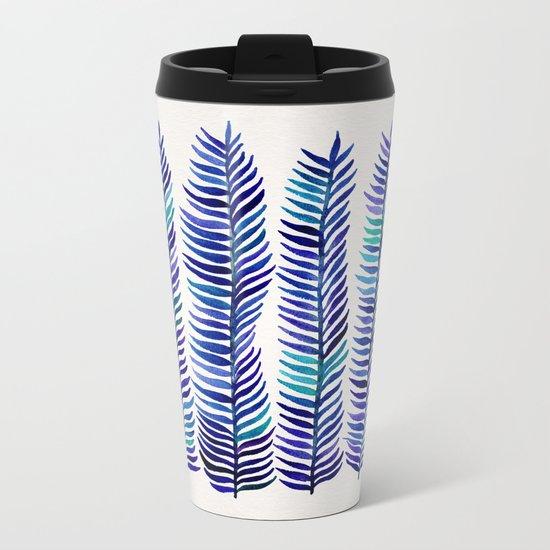 Indigo Seaweed Metal Travel Mug