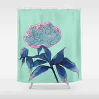 peony Shower Curtains featuring Peony by Ludovic Jacqz