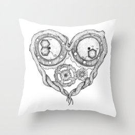 Chemistry of love: dopamine and serotonin formula (black and white version) Throw Pillow