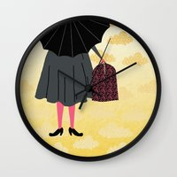 mary poppins Wall Clocks featuring Mary Poppins by Prelude Posters