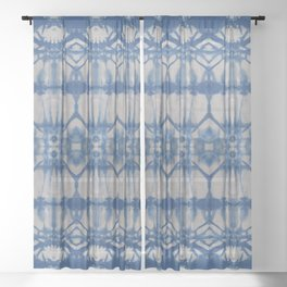 Natural Shibori Flowers Sheer Curtain