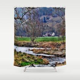 Winter am Fluss Shower Curtain