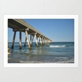 Boardwalk Into Ocean / Wrightsville Beach, NC Art Print