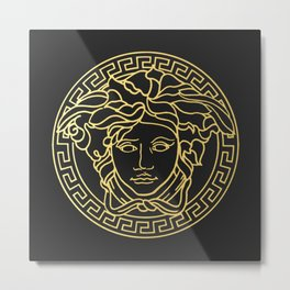 Versace/Medusa Head Gold Logo Metal Print