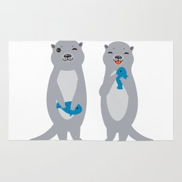 I Love You Mom. Funny grey kids otters with fish. Gift card for Mothers Day. Rug
