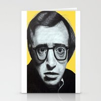woody allen Stationery Cards featuring Woody Allen by Black Neon