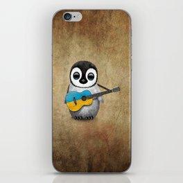 Baby Penguin Playing Ukrainian Flag Guitar iPhone Skin
