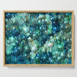 Blue Christmas Abstract Serving Tray