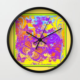 Purple Monarch  Butterflies  Surrealism Yellow Art Wall Clock