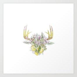 Horns Bohemian Deer #2 Art Print