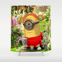 minions Shower Curtains featuring MINION by DisPrints
