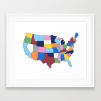 usa Framed Art Prints featuring USA by Project M