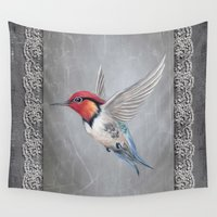 hummingbird Wall Tapestries featuring hummingbird by haroulita