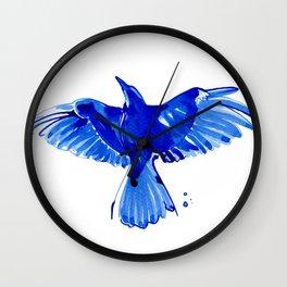 Blue bird wings Wall Clock
