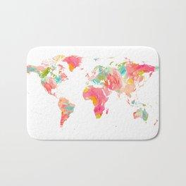 world map pink floral watercolor Bath Mat