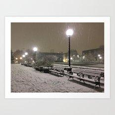 Romantic Seattle Snow At Night Art Print
