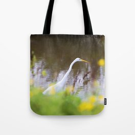 Great White Egret in the Marsh Tote Bag