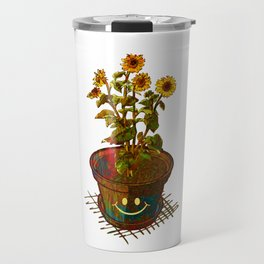 Artsy Sunflowers in Pot with Smiley Face Travel Mug