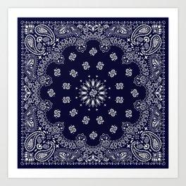Paisley - Bandana - Navy Blue - Southwestern - Cowboy Art Print