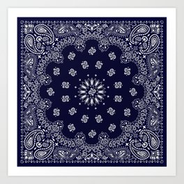Paisley - Bandana - Navy Blue - Southwestern - Cowboy Kunstdrucke