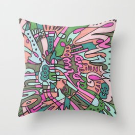 I Found my Friends (Pink/Green) Throw Pillow