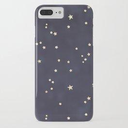 Navy Blue Gold Stars Night Sky Space Galaxy Pattern iPhone Case