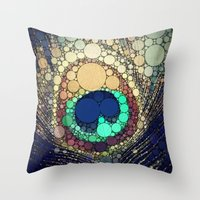 feather Throw Pillows featuring Peacock Feather  by Love2Snap